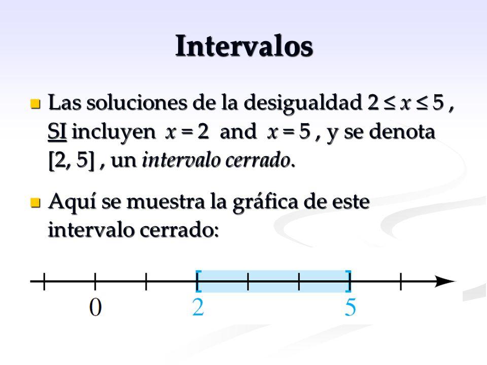 Intervalos Las soluciones de la desigualdad 2 ≤ x ≤ 5 , SI incluyen x = 2 and x = 5 , y se denota [2, 5] , un intervalo cerrado.